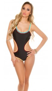 Sexy monokini with crochet hem Black