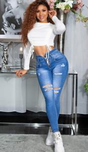 Sexy skinny mega hoge taille jeans gebruikte used look blauw