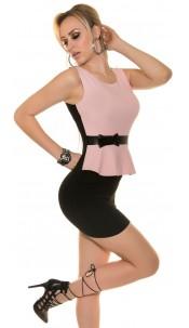 Sexy Koucla sheath dress with shirttail+Bow Pink