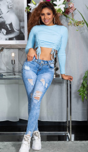 Sexy hoge taille jeans washed look blauw