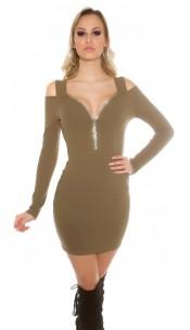 Cold Shoulder Mini Dress with rhinestone Zip Khaki