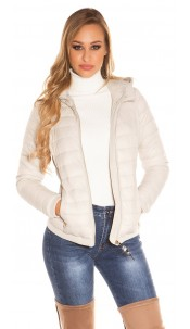 Trendy lightweight quilted jacket with a hood Beige