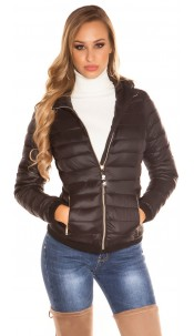 Trendy lightweight quilted jacket with a hood Black