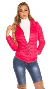 Trendy lightweight quilted jacket with a hood Fuchsia