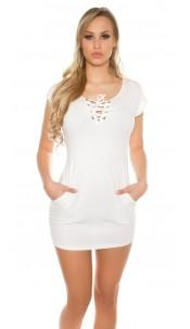 Sexy shortsleeve basic longshirt/minidress&lacing White