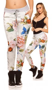 Trendy Joggers with flower print White