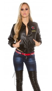 Sexy bomber jacket in leatherlook with patches Black