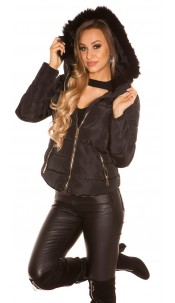 Trendy winter jacket with hood Black
