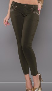 Sexy low-cut Pants with studs Khaki