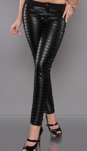 Sexy Lederlook-Jeggings with studs Black