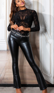 Sexy thermo faux leder bootcut broek zwart