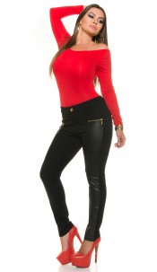 Curvy Girls Size!Treggings with leather look parts Black