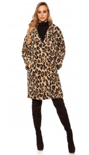 Trendy coat in leo look Leobeige