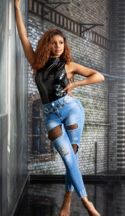Sexy Highwaist Jeans with Net Cut-Outs Blue