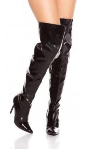 Sexy high heel overknees polish / metallic look Black