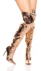 Sexy high heel overknees polish / metallic look Rose