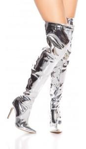 Sexy high heel overknees polish / metallic look Silver