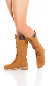 Trendy boots with zip and lacing Bronze
