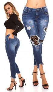 Sexy Jeans with Eyelets & Piercings Used Look Jeansblue
