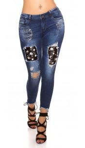 Sexy skinny Jeans Used Look w.Piercings & Skulls Jeansblue