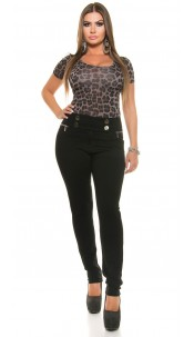 Curvy Girls Size!Sexy Skinny Treggings/ Buttons Black
