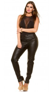 Curvy Girls Size! Sexy leather look pants Black