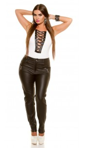 Curvy Girls Size! Sexy Leather look pants with zip Black