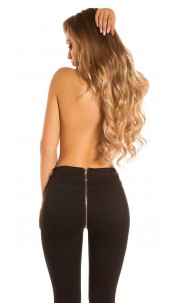 Sexy skinny jeans with zip at the back Black