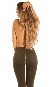 Sexy skinny jeans with zip at the back Khaki