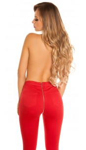 Sexy skinny jeans with zip at the back Red