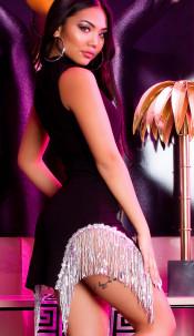 Sexy mini jurkje met franjes en pailletten zwart