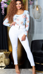 Sexy Highwaist Jeans with buttons White