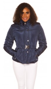 Trendy Winter jacket with belt Navy