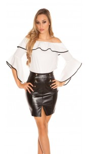Sexy Carmen blouse with flounce White