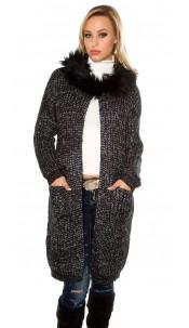 Trendy Hooded cardigan w. glitter threads Black