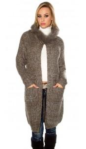Trendy Hooded cardigan w. glitter threads Khaki