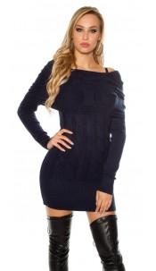 Sexy knit mini dress with Carmen neckline Navy