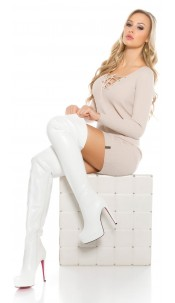 Sexy high hell leatherlook overknee boots White