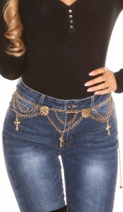 Trendy chainbelt with crosses Gold