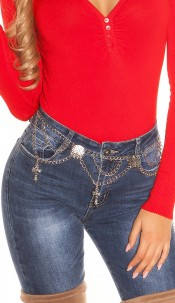 Trendy chainbelt with crosses Silver