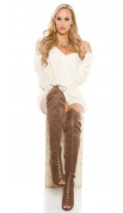 Sexy overknee- boots KylieJ. Style in suede optic Brown