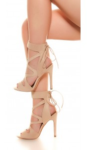 Sexy Cut Out High Heel Lace Up Beige
