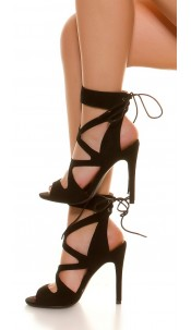 Sexy Cut Out High Heel Lace Up Black