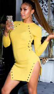 Sexy knitted mini dress with side splits Mustard