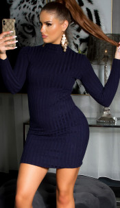 Sexy high neck knitted dress Navy