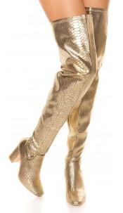 Sexy Overknees block heel reptile look Gold