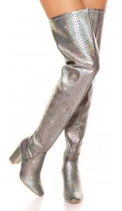 Sexy Overknees block heel reptile look Silver