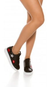 Trendy plateau sneakers with embroidery Black