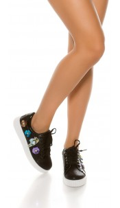Trendy platform sneakers with sequined flowers Black