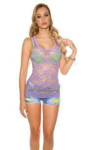 Sexy Top, transparent with flowers Violet